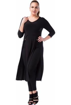 Francesca Ettore SF-1223 Siyah Büyük Beden Bayan Tunik