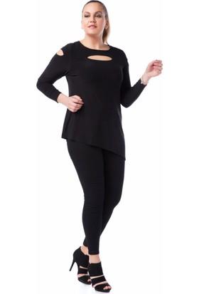 Francesca Ettore SF-1225 Siyah Büyük Beden Bayan Bluz