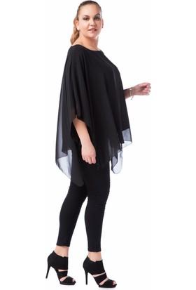 Francesca Ettore SF-1232 Siyah Büyük Beden Bayan Bluz
