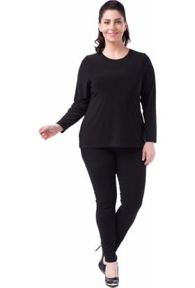 Francesca Ettore SF-1235 Siyah Büyük Beden Bayan Bluz
