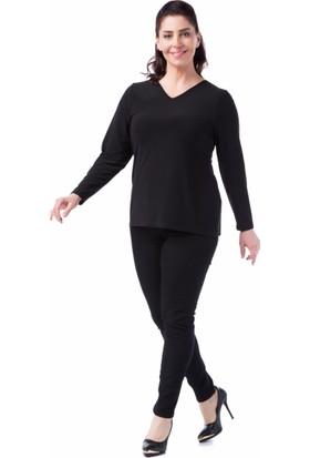 Francesca Ettore SF-1237 Siyah Büyük Beden Bayan Bluz