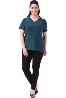 Francesca Ettore SF-1238 Yeşil Büyük Beden Bayan Tshirt
