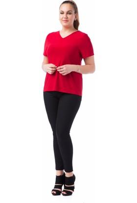Francesca Ettore SF-1238 Kırmızı Büyük Beden Bayan Tshirt