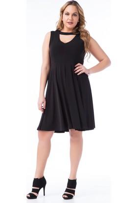 Francesca Ettore SF-1602 Siyah Büyük Beden Bayan Elbise