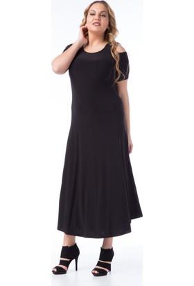 Francesca Ettore SF-1605 Siyah Büyük Beden Bayan Elbise