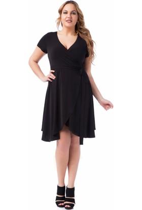 Francesca Ettore SF-1610 Siyah Büyük Beden Bayan Elbise