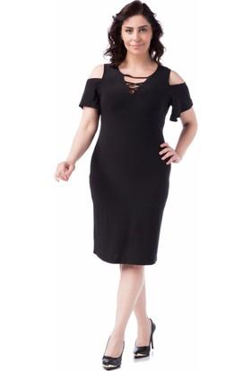 Francesca Ettore SF-1614 Siyah Büyük Beden Bayan Elbise