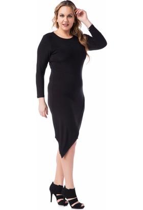 Francesca Ettore SF-1615 Siyah Büyük Beden Bayan Elbise