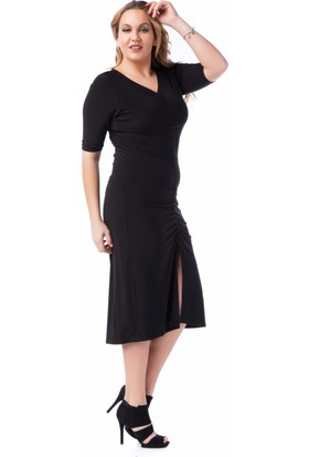 Francesca Ettore SF-1619 Siyah Büyük Beden Bayan Elbise