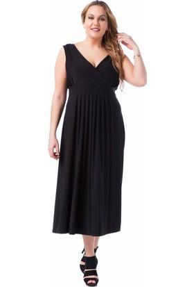 Francesca Ettore SF-1624 Siyah Büyük Beden Bayan Elbise