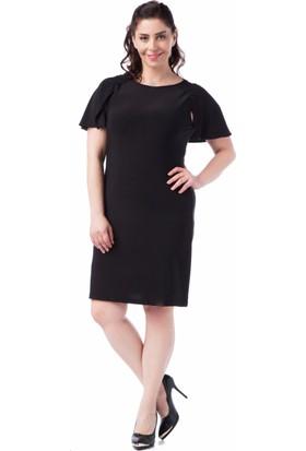 Francesca Ettore SF-1626 Siyah Büyük Beden Bayan Elbise