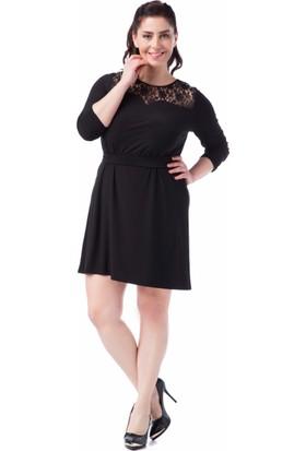 Francesca Ettore SF-1628 Siyah Büyük Beden Bayan Elbise