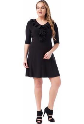 Francesca Ettore SF-1633 Siyah Büyük Beden Bayan Elbise