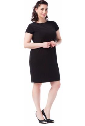 Francesca Ettore SF-1634 Siyah Büyük Beden Bayan Elbise
