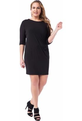 Francesca Ettore SF-1635 Siyah Büyük Beden Bayan Elbise