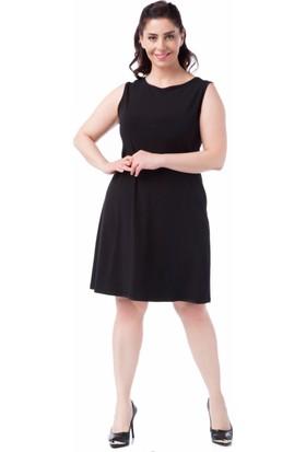 Francesca Ettore SF-1637 Siyah Büyük Beden Bayan Elbise