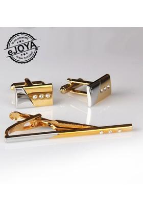 Ejoya Kravat İğnesi Kol Düğmesi Takım Tk909