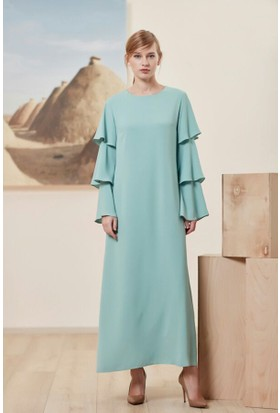 Aşiyan Kolları Volanlı Elbise 17Yas6148 Mint Yeşili