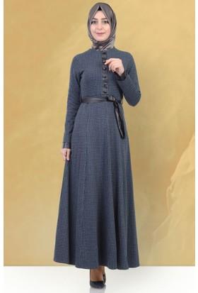 Beria Mevsimlik Kazayağı Desenli Elbise 5010 Lacivert