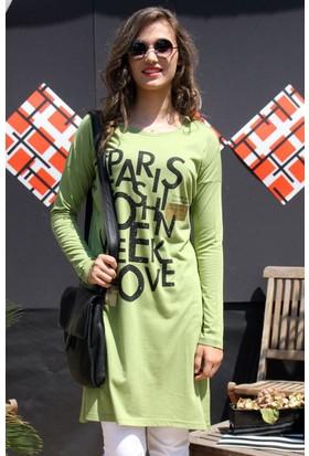 Dide Baskılı Taşlı Tunik Dml1689 Yeşil