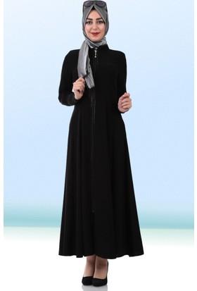 Göktepe Boncuk İşlemeli Ferace 0120 Siyah