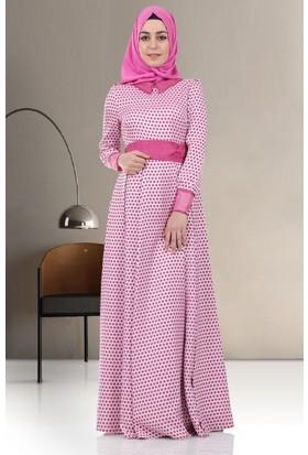 Kayra Puantiyeli Elbise B5 23088 Pembe
