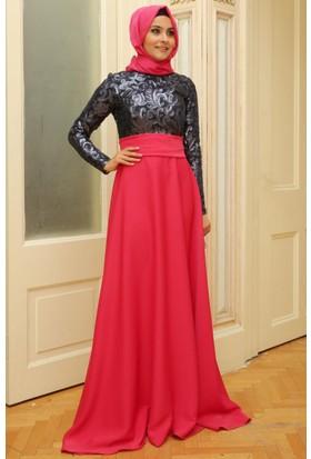 Mislina Üstü Güpür Kaplama Elbise 15Y3349 Lacivert - Fuşya