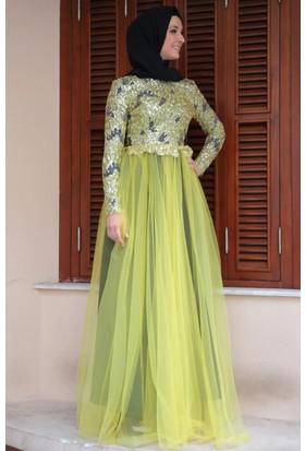Mislina Üstü Pul Payetli Kemerli Elbise 15Y3429 Sarı