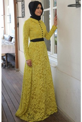 Mislina Yakmalı Elbise 15Y3397 Asit Yeşil