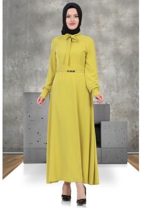 Nihan Fiyonklu Elbise S4187 Sarı