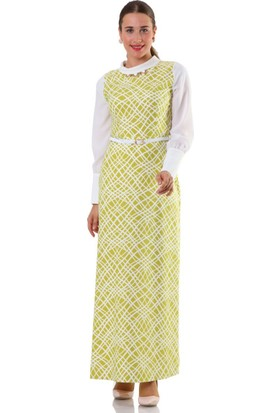 Puane Asimetrik Desenli Elbise 4654 Fıstık Yeşili