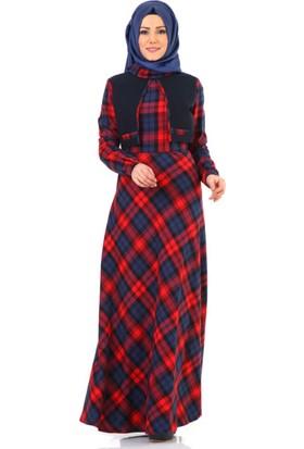 Tuğba Mevsimlik Cepken Görünümlü Elbise G5180 Kırmızı