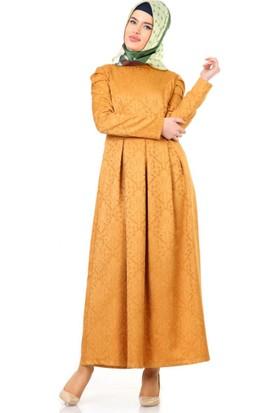 Veteks Line Mevsimlik Kedinden Desenli Elbise 7048 Hardal