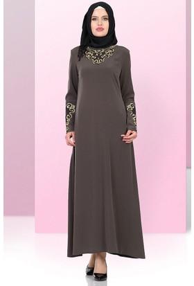 Yonga Gold Nakışlı Elbise 769 Yeşil