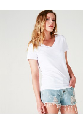 Beylord Beyaz V Yaka Kadın T-Shirt