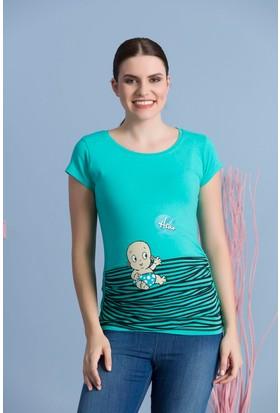 Gör&Sin Hello Kısa Kol Hamile T-Shirt Mint