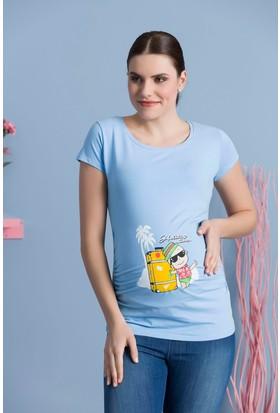 Gör&Sin Turist Bebek Kısa Kol Hamile T-Shirt Bebe Mavi