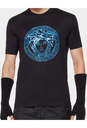 Guice Paris Versace Blue Crystal Medusa Head Model Erkek T-Shirt - Siyah