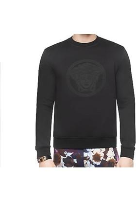 Guice Paris Versace Medusa Leather Patch Model Erkek Sweatshirt - Siyah