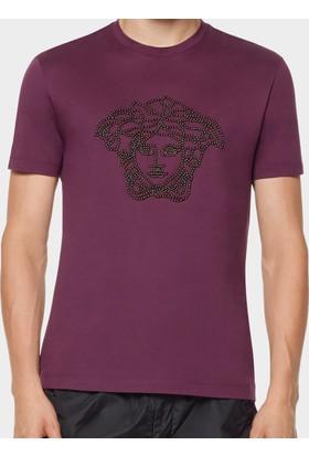 Guice Paris Versace Studded Medusa Model Erkek T-Shirt - Bordo
