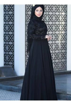 Hafsa Abiye Elbise - Siyah - Lef`zen