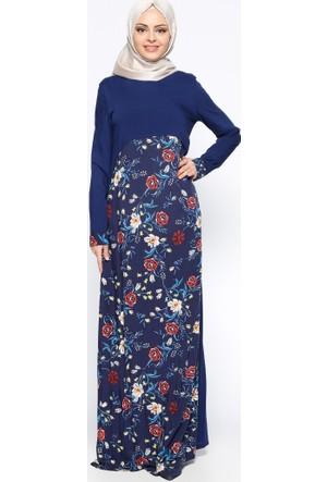 Çiçek Desenli Elbise - Lacivert - Ginezza