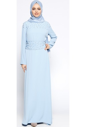 İncili Elbise - Mavi - Tuncay