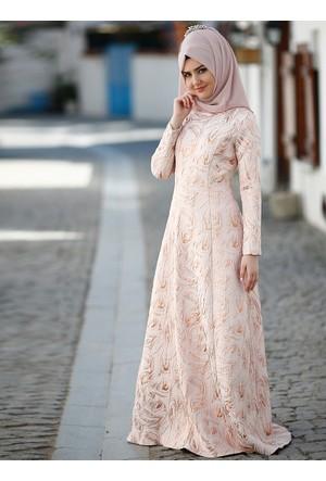 Hale Abiye Elbise - Pudra - SomFashion