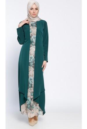 Kemerli Elbise - Yeşil - Sevilay Giyim