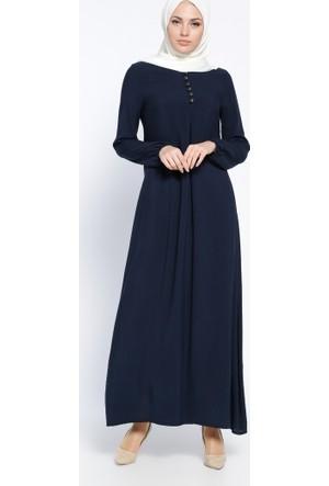 Birit Detaylı Elbise - Lacivert - Ginezza