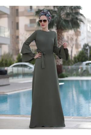 Volanlı Işık Elbise - Haki - Selma Sarı Design