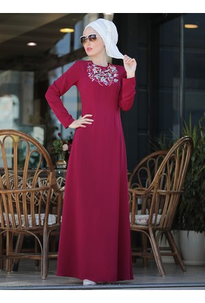 İrem Nakışlı Elbise - Fuşya - Selma Sarı Design