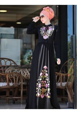 Cess Nakışlı Elbise - Siyah - Selma Sarı Design