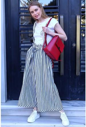 Bsl Fashion Çizgili Tulum Elbise 9268